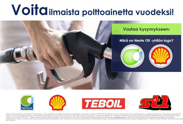 Osa viesteistä mainostaa mahdollisuutta voittaa vuoden ilmaiset polttoaineet.