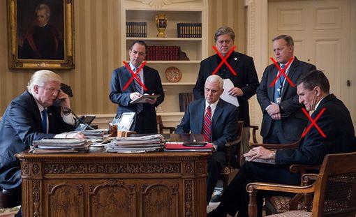 Kato on käynyt. Kuvassa vasemmalta Donald Trump, Reince Priebus, Mike Pence, Steve Bannon, Sean Spicer ja Michael Flynn.