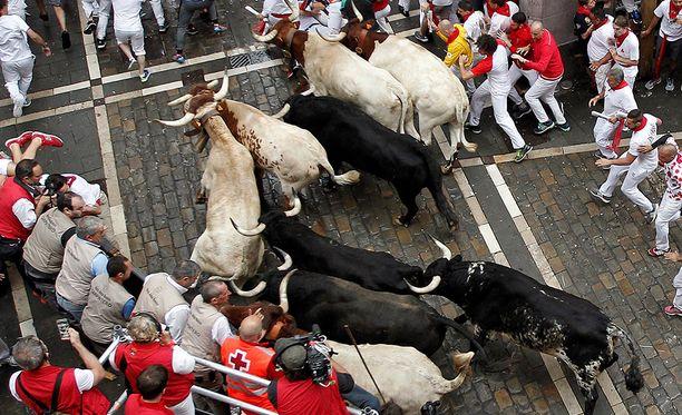 Pamplonan härkäjuoksufestivaaleilla loukkaantuu joka vuosi muutamia ihmisiä.