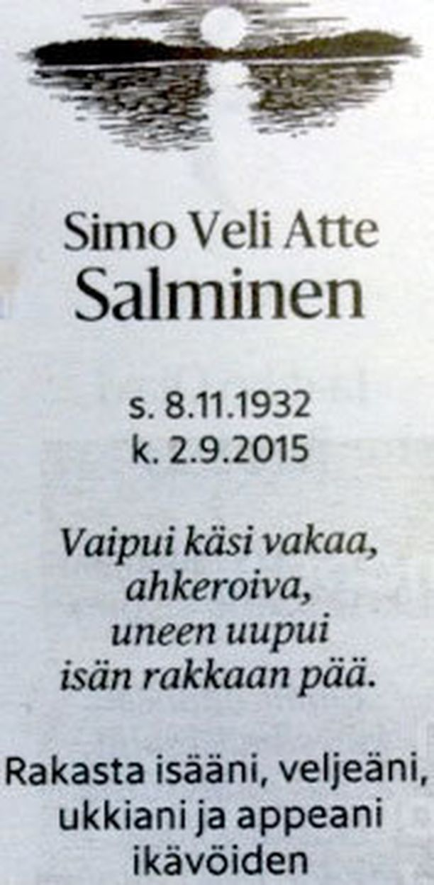 Simo Salmisen kuolinilmoitus.