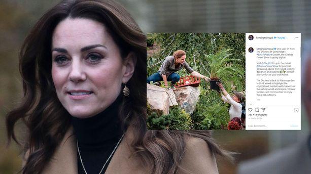 Herttuatar Catherine nauttii puutarhanhoidosta.