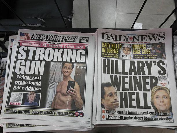 Newyorkilaiset tabloid-lehdet ottivat viime vuoden lokakuussa kaiken irti Weinerin tuoreimmasta skandaalista.