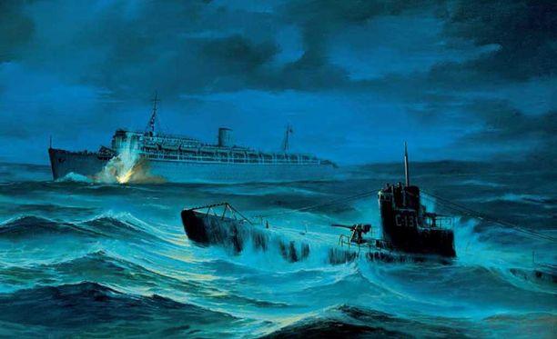 Taiteilijan näkemys aluksen kohtalonhetkistä. Venäläinen sukellusvene S-13 upotti sen kolmella torpedolla.