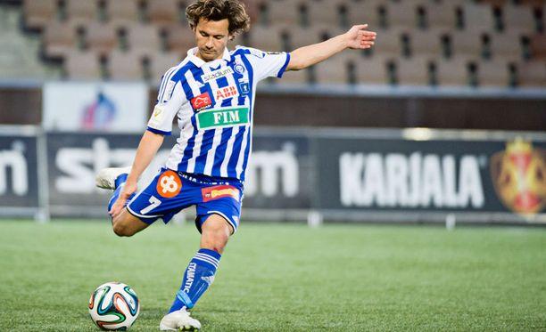 Sebastian Mannström pelasi ennen Saksaan lähtemistä HJK:ssa.