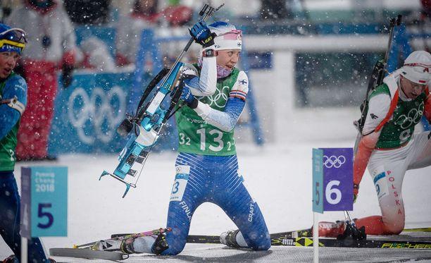 Kaisa Mäkäräinen teki mainiot suoritukset Korean olympiakisojen viesteissä.