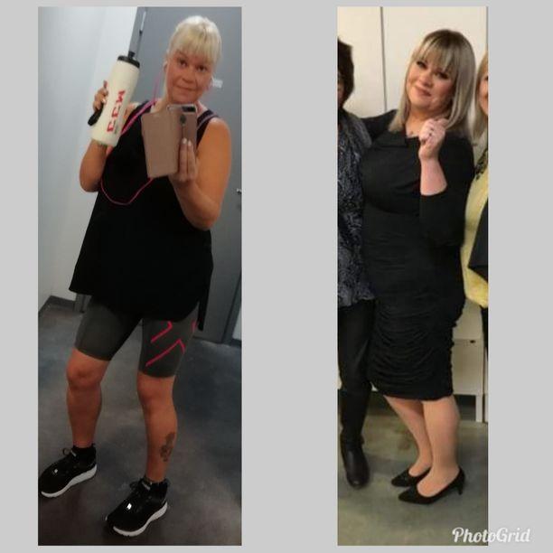 Tänä vuonna otetuissa kuvissa näkyy elämäntyylin ja olemuksen muutos. Kuvat otettu tammikuussa 2018 ja heinäkuussa 2018.