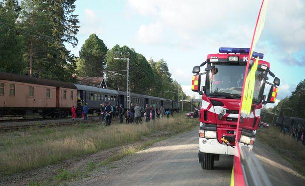 Palo huomattiin, kun juna seisoi Laukaan pysähdyspaikalla.