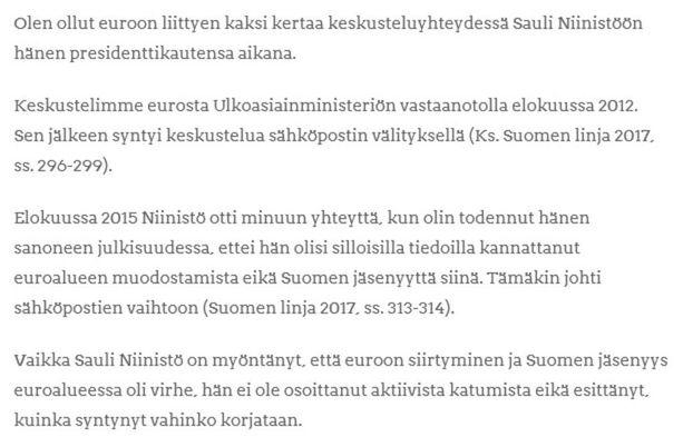 Väyrynen esitti väitteensä 21. joulukuuta omassa blogissaan.
