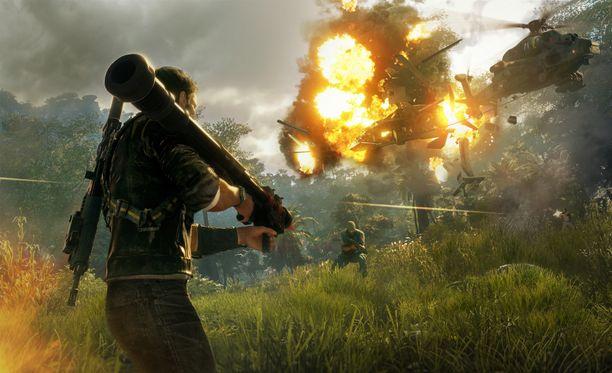 Vaijerilla voi sitoa yhteen muun muassa kaksi helikopteria, jotka törmäävät toisiinsa ja räjähtävät asiaankuuluvan muhkeasti.