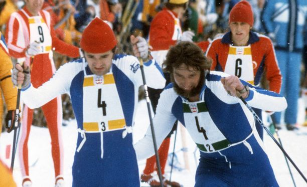 Juha Mieto lähetti Pertti Teurajärven matkaan Innsbruckin kultaviestissä vuonna 1976.