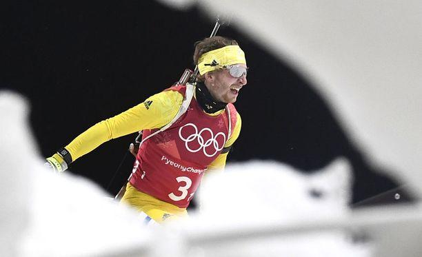 Peppe Femling hiihti yhtenä Ruotsin ampumahiihdon viestimaajoukkueen osana maalleen olympiakultaa.