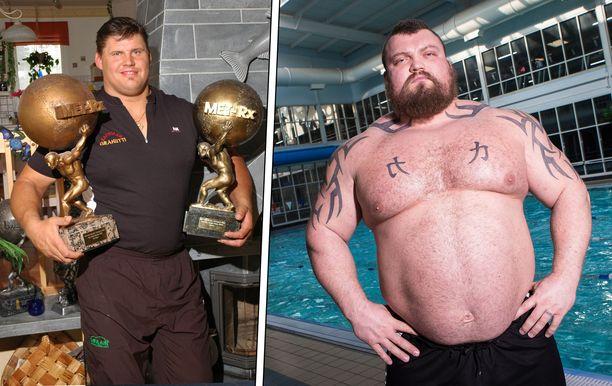 Janne Virtanen (vas.) kuvattuna vuonna 2005. Eddie Hall painoi isoimmillaan lähes 200 kiloa, vaikka on Virtasta kuutisen senttiä lyhyempi.