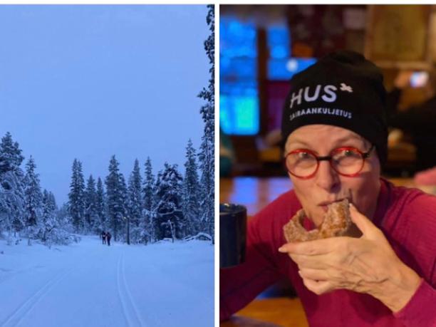 Helsingin ja Uudenmaan sairaanhoitopiirin toimialajohtaja  postasi 1. tammikuuta HUS Akuutti -Facebook-ryhmään kuvan Lapin hiihtoladuista ja itsestään tauolla leivoksella.