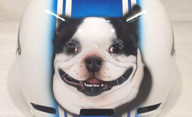 Presidentti Niinistön uutta kypärää koristaa perheen Lennu-koira.