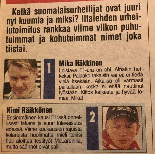Vuonna 2001 suomalaisia formulafaneja todella hemmoteltiin, kun Kimi Räikkönen ajoi ensimmäistä kauttaan ja kisoissa oli mukana myös kaksinkertainen maailmanmestari Mika Häkkinen.