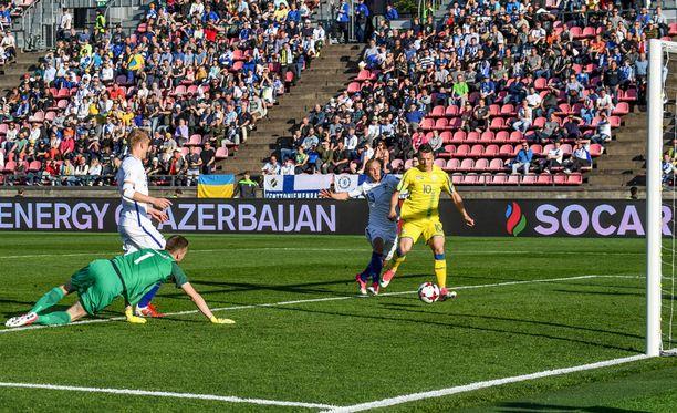 Suomi pelasi Ratinalla Ukrainaa vastaan viime kesäkuussa.