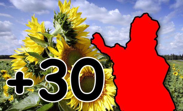 Pohjois-Suomessa on nyt lämpimintä, mutta Ilmatieteen laitoksen mukaan seuraavalla viikolla myös etelässä rikotaan 30 astetta.