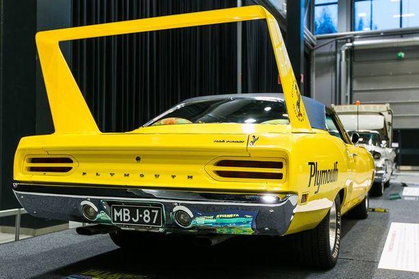 Plymouth Superbirdin säädettävä takaspoileri on korkealla puhtaammassa ilmassa.