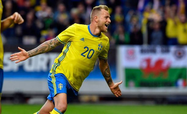 John Guidetti viimeisteli ensimmäisen maalinsa Ruotsin maajoukkueelle.