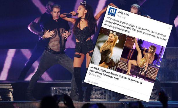 Daily Mail -lehti joutui somekansan kynsiin vihjattuaan, että Ariana Granden esiintymisasulla oli tekemistä terrori-iskun kanssa.
