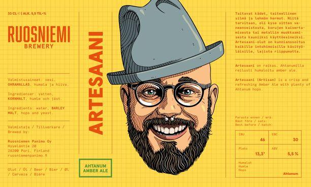 Ruosniemen panimon Artesaani-oluen etiketti.