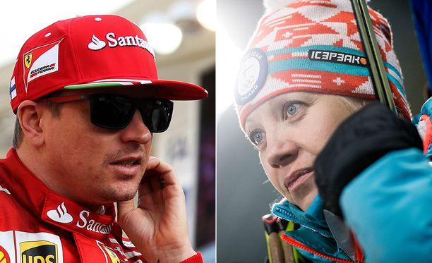 Kimi Räikkönen ja Kaisa Mäkäräinen ovat - edelleen - Suomen suosituimpia urheilijoita.