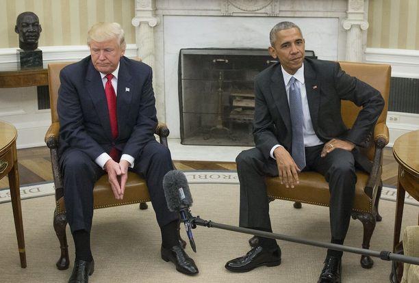 Jo Donald Trumpin ja Barack Obaman elekieli viestittää, että he ovat harvoista asioista samaa mieltä. Kuva viime vuoden lopulta.