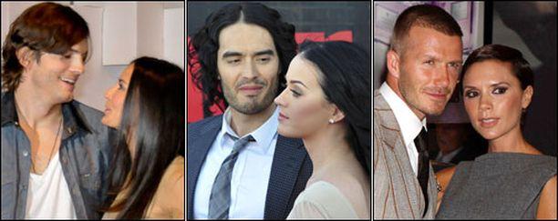 Demi ja Ashton, Katy ja Russell sekä David ja Victoria lukeutuvat maailman seuratuimpiin julkkispariskuntiin.