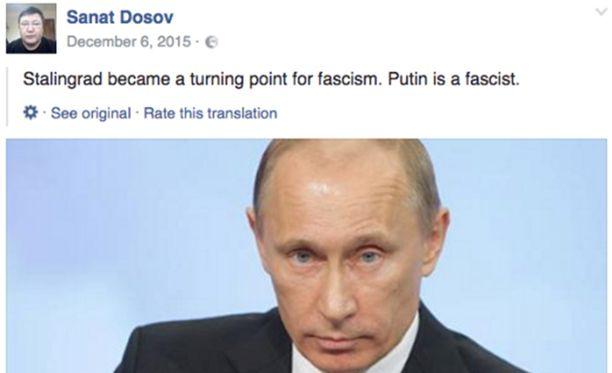 Kazakstanilainen Sanat Dosov kutsui Vladimir Putinia fasistiksi Facebook-päivityksessään.