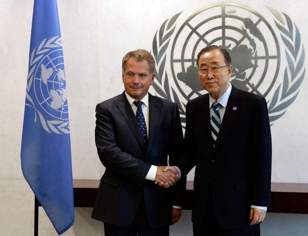 Niinistö tapasi eilen YK:n pääsihteerin Ban Ki-moonin.
