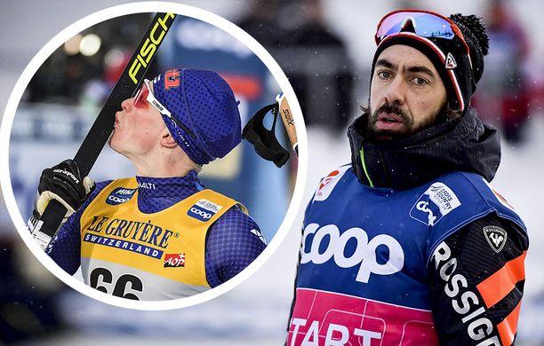 Iivo Niskanen suutelee nykyisin Fischerin suksia, Simon Caprini jatkaa Rossignolin tallipäällikkönä.