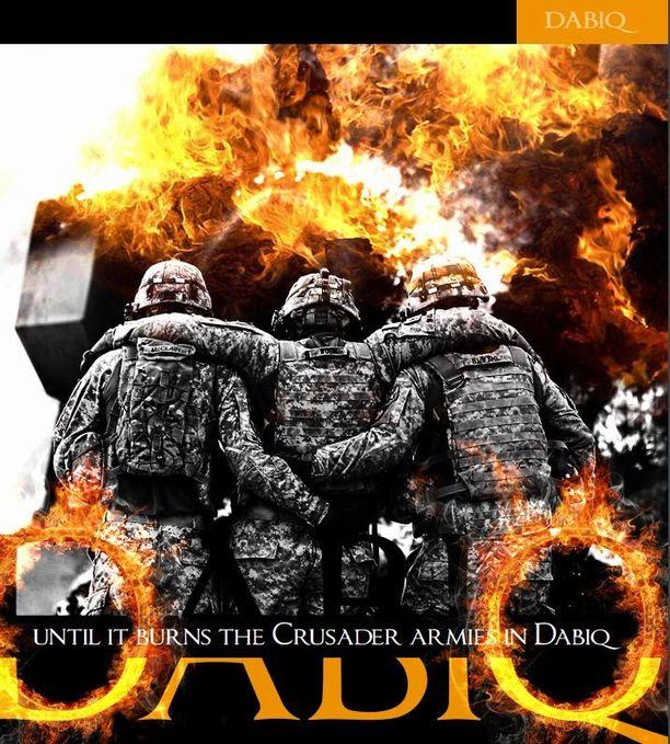 Kuvakaappaus Isisin propagandalehti Dabiqin ensimmäisestä numerosta.