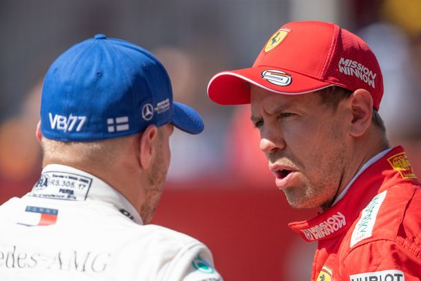 Sebastian Vettel onnitteli paalupaikan vallannutta Valtteri Bottasta lauantaina Barcelonassa.