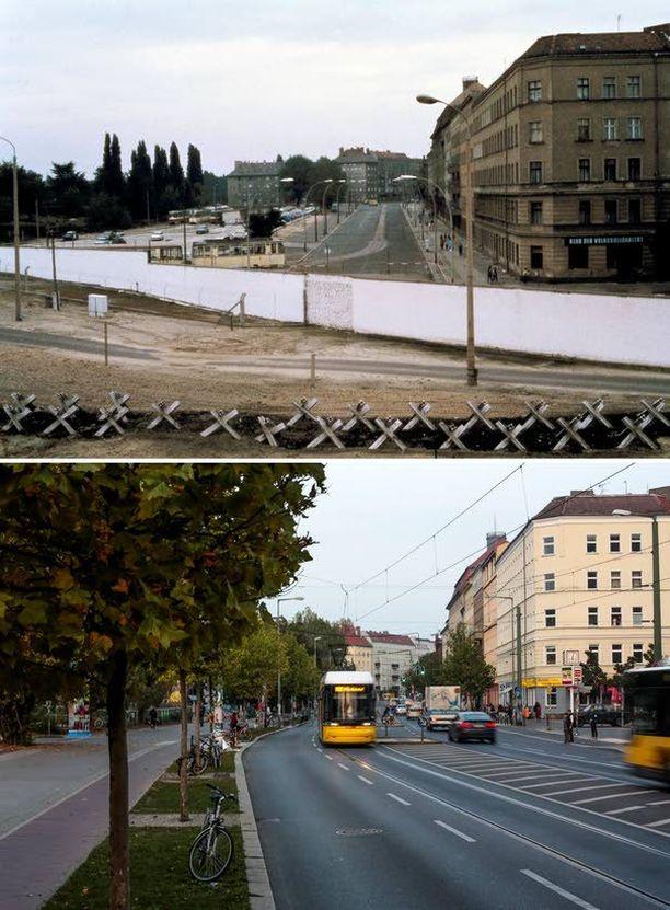 Itä-Berliini Bernauer Strasselta nähtynä. Nykyisin keltaiset raitiovaunut halkovat katuja.