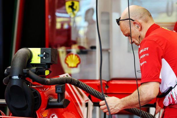 Tällainen viritelmä peitti Ferrari SF71H:n kameranäkymän Singaporen osakilpailussa.