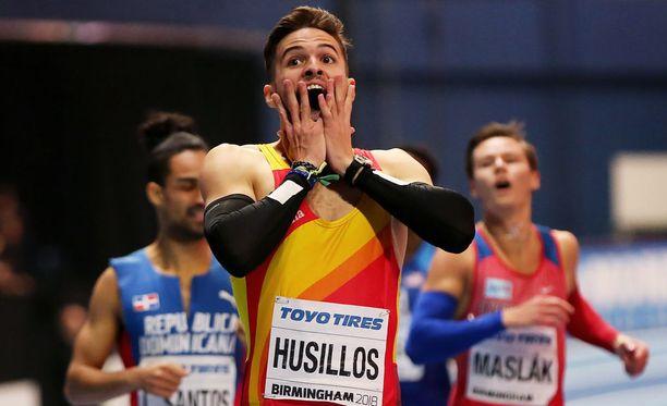 Oscar Husillosin ilo ei kestänyt kauaa maaliviivan ylittämisen jälkeen.