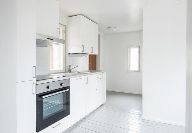 Jääkaappipakastin ja astianpesukone on integroitua mallia. Ikkunat ovat pienet, mutta vaaleat pinnat tuovat raikkautta.