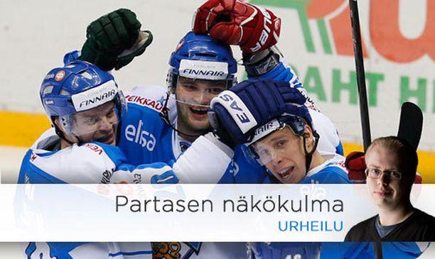 Teemu Hartikainen (kesk.) antoi viikonloppuna vahvan olympianäytön.