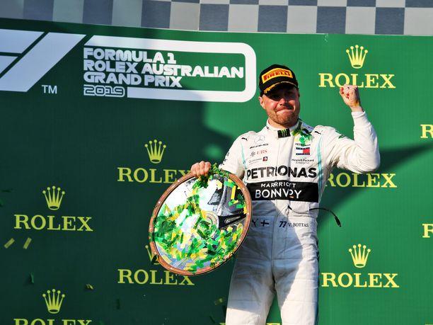 Valtteri Bottas tuuletti Australian GP:n voittoa.