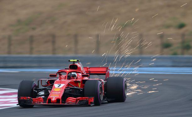 Kimi Räikkönen oli Ranskan GP:ssä paras Ferrari-kuljettaja.