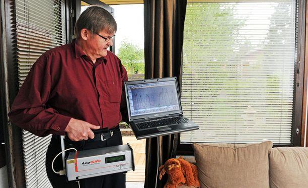Säteilyturvakeskuksen radontutkija Heikki Reisbacka mittasi radonpitoisuuksia rivitaloasunnossa vuonna 2010. Tänään radonmittauksia tehdään työpaikoilla Etelä-Suomessa.