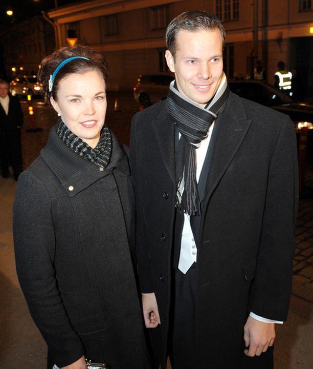 Tero Pitkämäki ja Niina Kelo olivat juhlatuulella.