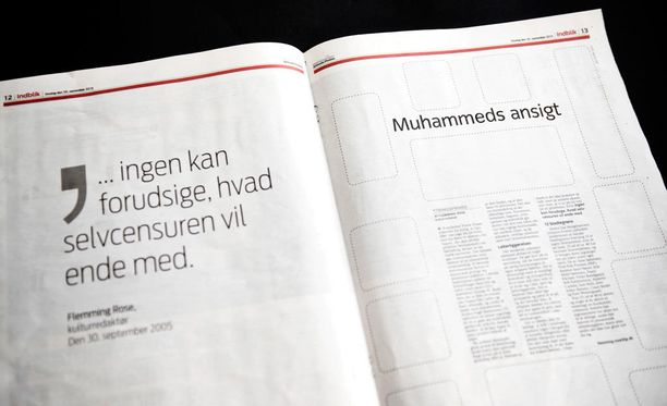 Jyllands-Posten julkaisi 30.9.2015 lehden ilman kuvitusta. Ele tehtiin kymmenen vuotta Muhammed-pilapiirrosten julkaisun jälkeen.