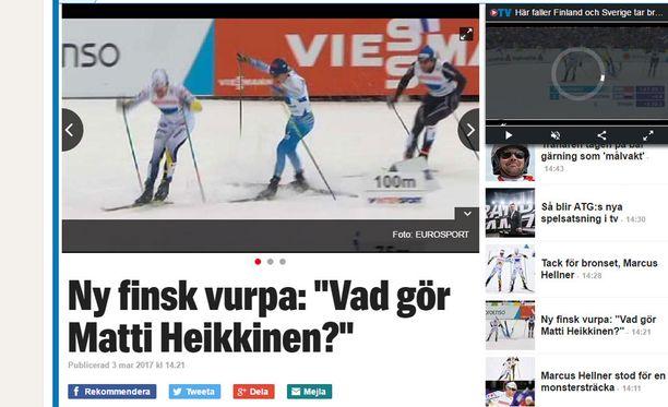 Expressen revittelee Matti Heikkisen kaatumisella.