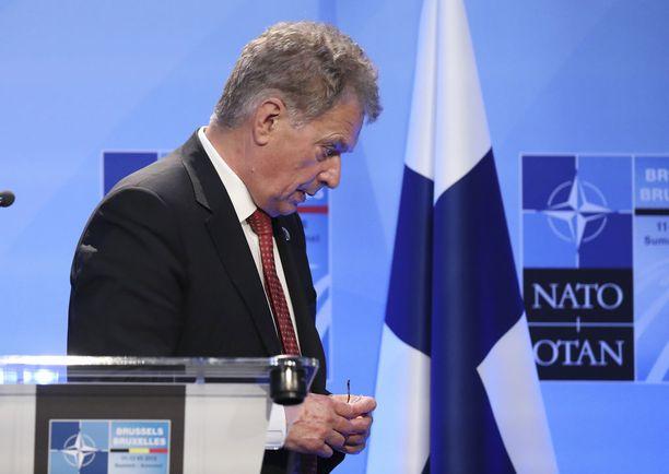 Presidentti Sauli Niinistö kuvattuna Nato-huippukokouksessa Brysselissä tänään torstaina.