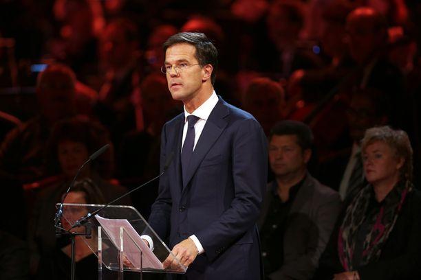 Hollannin pääministeri Mark Rutte puhui uhrien omaisille ja ystäville.