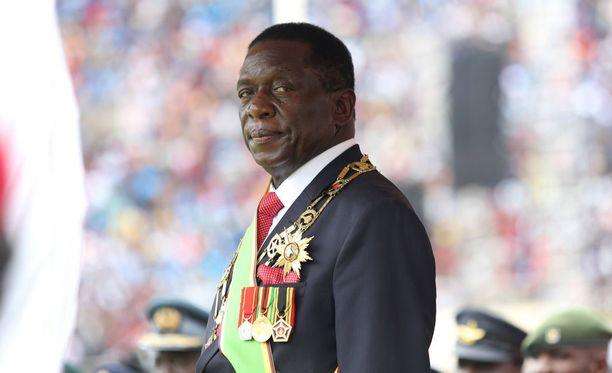 Zimbabwen presidentti Emmerson Mnangagwa virkaanastujaisseremoniassaan viime viikolla.