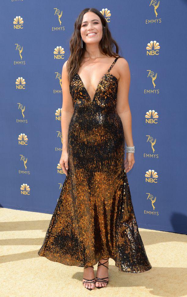 Mandy Moore pukeutui Rodarten custom made -mekkoon.