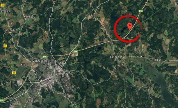 Onnettomuuspaikka sijaitsee valtatie 7:llä Porvoosta itään.