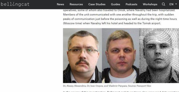 Selvityksen mukaan nämä kolme miestä olivat Navalnyin hengen lähes vieneellä lennolla.